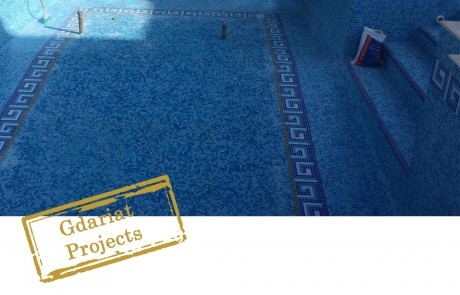 Size around 12 x4 meters Mix blue mosaic. Border on swimming pool walls of 30 CM. computer designed carpet at the floor of the swimming pool jacuzzi